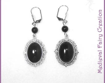 "Earrings evening chic silver and black ""Onyx"""