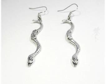 """""""Wyvern"""" Silver Snake earrings"""