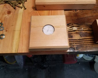 "5"" square finished tea light holders"