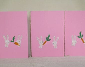 Set of 5 cards patterns bunnies