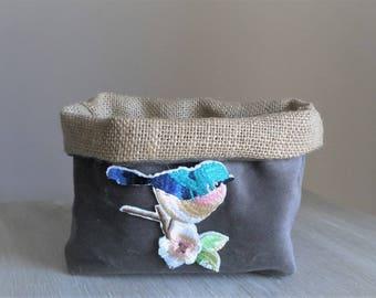 Storage basket, velvet, Burlap, Blue Bird patch. 1 piece.