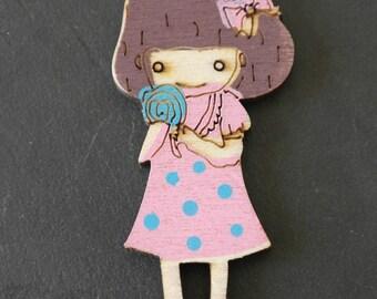 Girl wooden embellishment