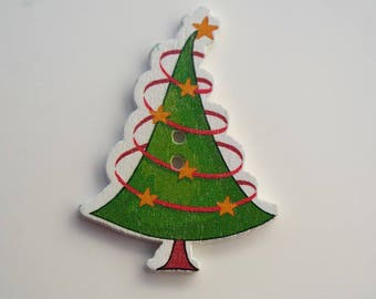 Button Christmas tree, wooden, 42 x 31 mm, fancy button