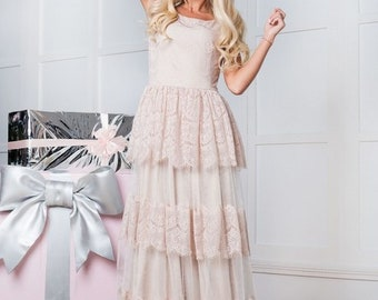 Lace dress. Long dress. Maxi dress. Ivory dress. Evening Dress. Bridal dress. French lace dress. Women's dress. Prom Dress. Wedding dress.