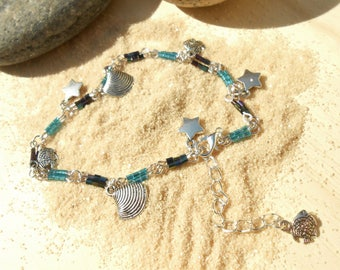Silver MULTISTRAND bracelet and Sea Blue Blue seed beads