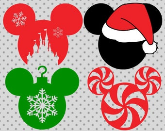 Disney Christmas SVG, Christmas svg, Disney santa Svg, Mickey santa svg, Mickey candy cane, Mickey ornament svg, Disney Christmas cricut