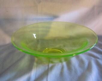 Vintage Vaseline Glass Bowl Unmarked