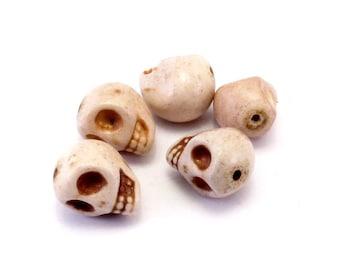 Set of 5 skulls beige howlite