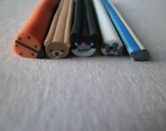 x 10 mixte(2 x 5) canes 5 polymer clay animals x 0.5 cm