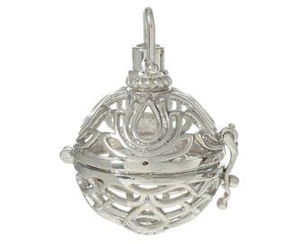 x 1 pendentif cage de Bali Bola fleur de Lotus pour bille d'Harmonie Bébé argenté 3,7 x 2,4 cm