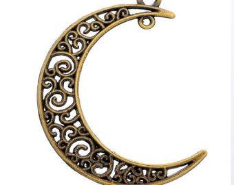 x 1 moon pendant/charm openwork pattern bronze 4.1 x 3 cm