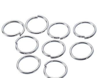x 100 anneaux de jonction ouvert métal argenté 5 mm