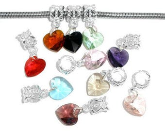 x 10 mixed dangle charm heart crystal glass 24 x 10 mm