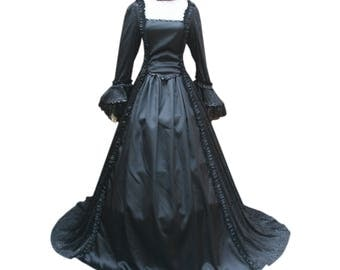 Gorgeous Victorian Georgian Gown And Choker Renaissance Medieval Ghost Women Black Pirate Vampire Witch Dress Steampunk Halloween Costume