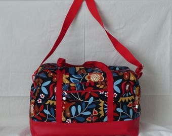 Red weekend floral fabric and Red handles faux leather bag