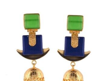 Green/blue gems golden jumkhi earrings,Heavy look,Bollywood style,Indian/pakistani wedding.