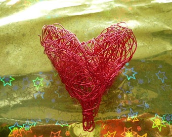 Red wire heart brilliant decoration for parties and oel or Valentine tree