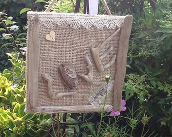 painting home decor, driftwood and burlap