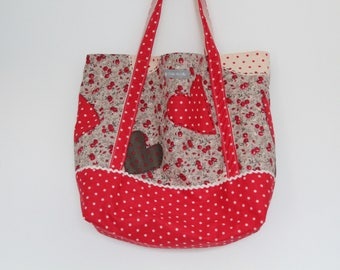 Bag Tote red with off white, floral dots and hearts - mother's day gift idea