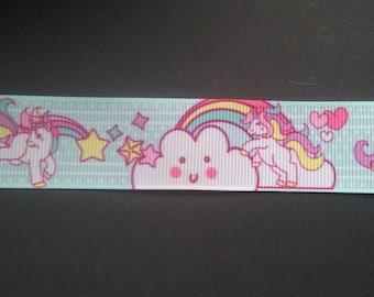 Grosgrain Ribbon - Unicorn - Rainbow - 25mm