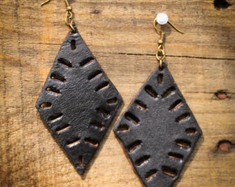 Kaitlyn Black Cutout Earrings | Leather Earrings | Birthday Gift | Anniversary | Gifts under 25 | Handmade | Gifts for Her