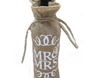 """Bag has """"MR & MRS"""" burlap canvas bottle"""