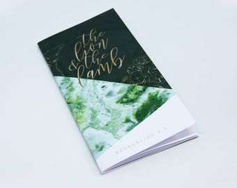 Green notebook for bible journaling and sermon notes - Lion and the Lamb Christian HT003