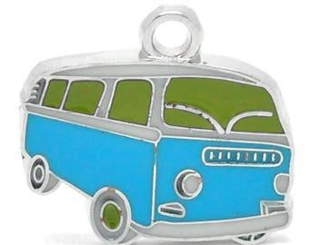 PBE10 - Van truck enameled silver-plated 20x18mm pendant