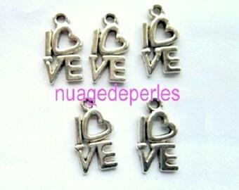 love 5 charm pendant Tibetan silver