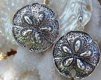 Silver Sand Dollar Earrings - Sand Dollar Jewelry - Beachy Jewelry - Beachy Earrings - Seashell Earrings - Life is Better at the Beach