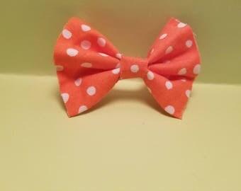 Orange Polka Dot Hair Bow