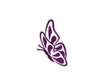 Glittery Purple Butterfly 6.5 x 4 cm in Flex fusible pattern