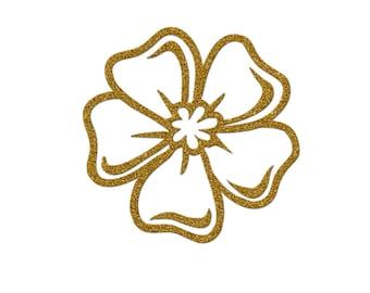 Glittery Gold Flower 7 cm in flex fusible openwork pattern