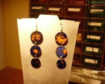 Enamels earrings 925 sterling silver hooks