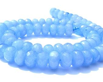8 aigues marines Abacus à facette de 8x5 mm perles pierre bleu claire.