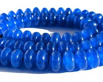 8 saphirs Abacus de 8x5 mm perles pierre rondelle bleu roi.