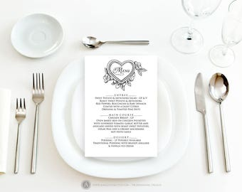 Black and White Printable Menu Valentine Wedding Menu Cards Template Vintage Wedding Menu Dinner Menu Flowers Heart Menu Digital Download