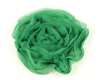 Fabric flower synthetic green sewing or craft, diameter 10cm