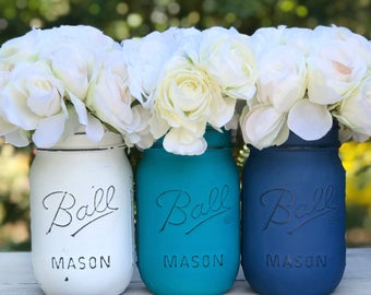 White, peacock blue/green, royal blue distressed and painted mason jars. Vase, shelf mantle decor, gift, centerpiece, teen room, flowers