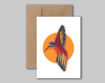 Birdie, watercolour illustration art print card. Blank greeting, birthday, thank you card.