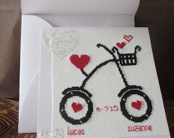 "Embroidered ""Love two-wheeled"" wedding invitation"