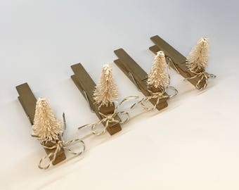 Christmas Clothespin Clips- Set of 4 Gold with White Sisal Trees