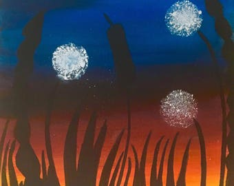 Painting on canvas - Dandelions in sunset