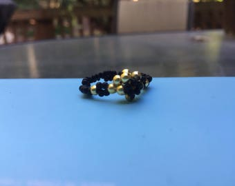 Black and Gold Petit Bud Ring