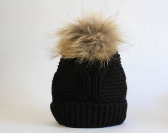 Cute black pom pom hat, Girls winter hat, Hat womens, Winter hat, Kids hat, Teenage girl hat, Back to school hat, Winter knitted hat, Hats