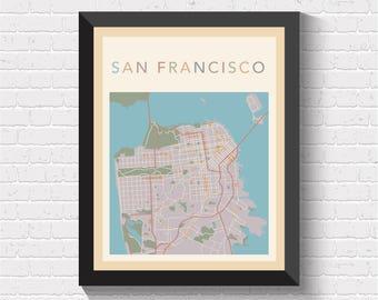 San Francisco Map, San Francisco Street Map, San Francisco City Map, San Francisco Art, San Francisco Map Print, San Francisco, US, USA