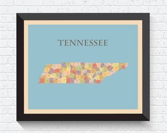 Tennessee Map, Tennessee Poster, Tennessee Print, Map of Tennessee, Tennessee Art, Tennessee Decor, Tennessee Map Print, Tennessee, USA, US