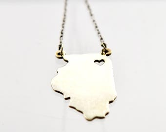 "Maya J  ""I Love Illinois"" Necklace 925 Sterling Silver"