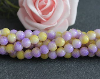 50 glass beads 6 mm two-tone purple and yellow