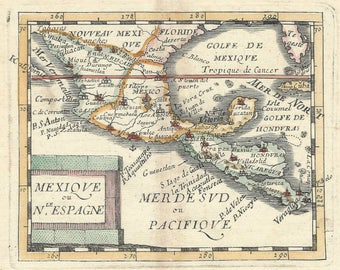 1682 Original antique map of Mexico, Central America, Florida and Texas by Pierre DuVal